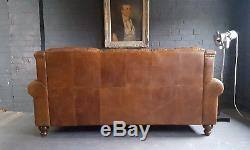 362 Chesterfield Leather vintage & distressed 3 Seater Sofa tan brown Courier av