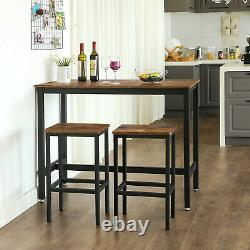 3PC Bar Table and Stools Kitchen Breakfast Dining Room Furniture Vintage LBT15X