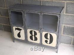 3 Doors Industrial Metal Cabinet Drinks Container Cupboard Storage Organiser New