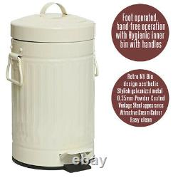 3 Litre Retro Vintage Pedal Bin Rubbish Waste Dustbin US Style Bathroom Kitchen