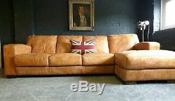 4023. Chesterfield Vintage Light tan 4 Seater Leather Club Corner suite courier