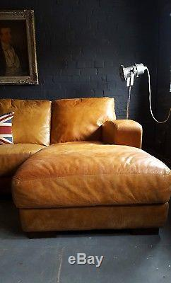 405. Chesterfield vintage 4 seater leather tan Club brown Corner suite courier av