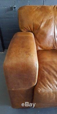422. Chesterfield Leather vintage & distressed 3 Seater Sofa tan brown Courier av