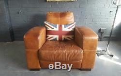 441 Vintage Tan Chesterfield High back Club leather armchair Courier av