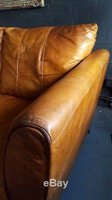 467. Chesterfield vintage 3 seater leather tan Club brown Corner suite courier av