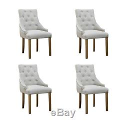4Pcs Accent Lounge Dining Chair Fabric Upholstered Curved Button Tufted Beige UK