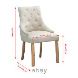 4Pcs Beige Tufted Dining Chairs Linen Fabric Upholstered Accent Lounge Chair NEW