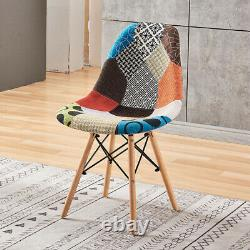 4Pcs Patchwork Dining Chairs Padded Lounge Office Chair Wooden Leg Reception