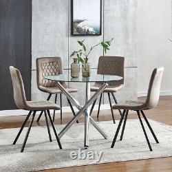 4Pcs Velvet Dining Chairs Metal Leg Padded Dining Room Kitchen Office/Commercial