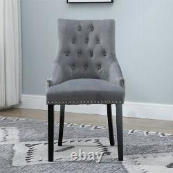 4Pcs Velvet Knocker Dining Chairs Accent Button Tufted Upholstered Studded Chair