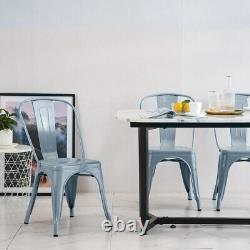 4X Tolix Style Metal Dining Chairs Grey Industrial Kitchen Cafe Stackable Seat