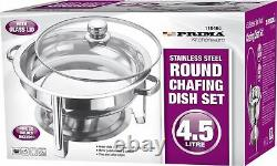 4.5l S/steel Round Chafing Dish Glass LID Food Warmer Catering Buffet Tray Rack