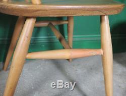 4 Ercol Dining Chairs, Quaker, Kitchen, Light Wood, Mid Century, Vintage, Retro