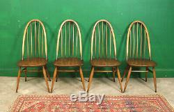 4 Ercol Quaker Chairs, Golden Dawn, Kitchen, Dining, Retro, Vintage