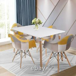 4 Piece Patchwork Fabric Tub Chairs Lounge Padded Seat Dining Room Kitchen Set