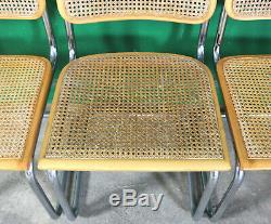 4 Vintage Cesca Dining Chairs, Marcel Breuer, Made in Italy, Retro, Chrome, Cane