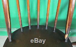 4 Vintage Ercol Quaker Dining Chairs, Dark Elm, Stickback, Retro, Kitchen