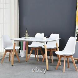 4 x Dining Chair Tulip Chairs Wooden Legs Office Kitchen Home Padded Seat WHite
