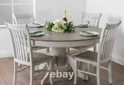 4 x Shabby Chic Dining Room Table Wooden Chairs Kitchen Farmhouse Ivory White