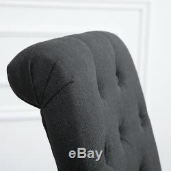 4x Dark Grey Button Tufted High Back Dining Chairs Fabric Upholstered Kitchen