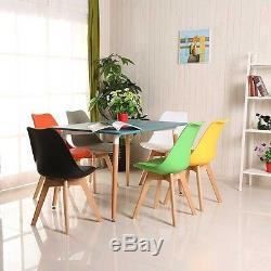 4x Tulip Dining Chair Eiffel Style Solid Wood Legs PP Plastic Padded Seat Grey