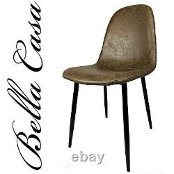 4x Vintage Dining Chairs Suede Brown Chair Kitchen Living Room by Bella Casa UK