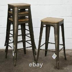 4x Vintage Industrial Bar Stools Chair Retro Kitchen Counter Wooden Seat Pub UK
