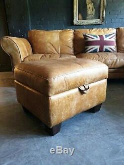 5012. Chesterfield Vintage tan 3 Seater Leather Club Corner Sofa DELIVERY AV