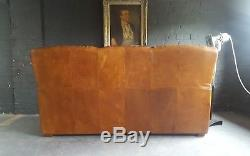 507. Chesterfield Leather vintage & distressed 3 Seater Sofa brown Tan Courier av
