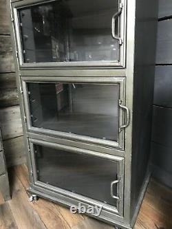 5 Glass Doors Metal Industrial Display Cabinet On Wheels Metal Storage Unit New
