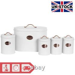 5pc-Kitchen Set Bread Bin Tea Coffee Sugar Biscuit Tins, Barrel Sealed Containers