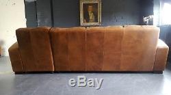 651 Chesterfield vintage 4 seater leather tan Club brown Corner suite courier av