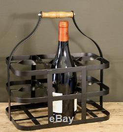 6 Bottle Milk Crate Vintage Metal Retro Wooden Handle Drinks Glass Holder Caddy