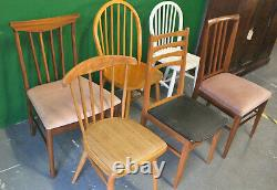 6 x Mixed Retro Dining Chairs, Vintage, Kitchen, Wood, Mid Century, Eclectic