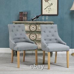 6x Grey Button Tufted Dining Chairs Armchair Fabric Padded Lounge Dining Room
