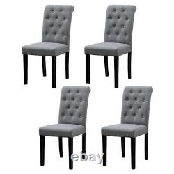 6x Grey Dining Chairs Fabric Padded Seat Wood Legs Dining Room Home Furniture BN