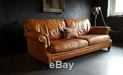 70 Chesterfield Leather vintage & distressed 3 Seater Sofa tan brown Courier av