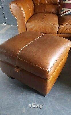 77. Chesterfield Vintage tan 3 Seater Leather Club Corner Sofa Suite