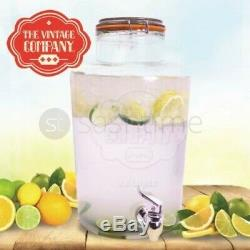 7.6l Drink Dispenser Water Cocktail Tap Juice Punch Party Glass Mugs Jar Home