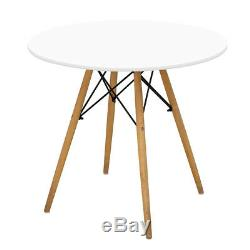 80cm Dining Round Table And 4 Chairs Set Padded Patchwork Fabric Office White UK