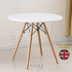 80cm Round Dining Table White And 4 Padded Tulip Chairs Grey Set Kitchen Cafe UK