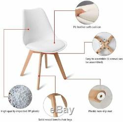 80cm Round Dining Table White And 4 Padded Tulip Chairs Set Kitchen Lounge room