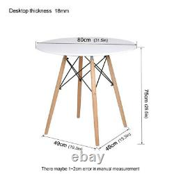80cm Round Dining Table and 2/4 Chairs Set Patchwork Wood Legs Fabric Kitchen UK