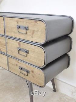 9 Drawer Industrial Cabinet 3 Tier Sideboard Storage Unit Organiser Cupboard New
