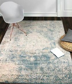 A2Z Rug Traditional Area Rugs Design Vintage Faded Floral Blue Carpets Runners