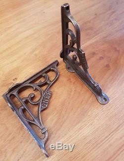 A Pair of Cast Iron GNER Shelf Bracket 5 x 5 Railway / Vintage / Retro