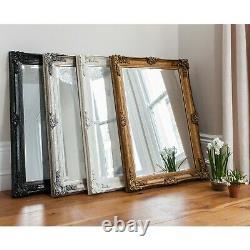 Abbey Large Vintage Cream Rectangle Ornate Wall Mirror 31x43 (110cm x 79cm)