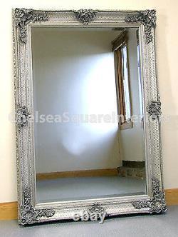 Abbey Large Vintage Silver Rectangle Ornate Wall Mirror 31x43 (110cm x 79cm)