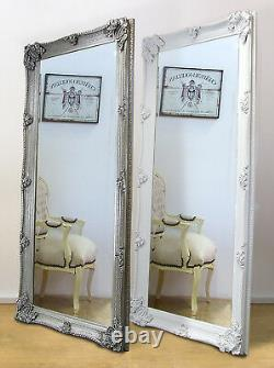 Abbey Ornate Large Full Length Leaner Mirror White or Silver 65 x 31