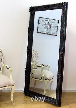 Abbey Vinatge Black Large Shabby Chic Wall Leaner Mirror 65 x 31 or 165x79cm